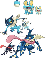 656, 657 and 658 - Froakie Evolutionary Line