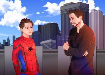 Tony Stark and Peter Parker. Commission by LoraLindemann