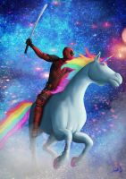 Deadpool on a Unicorn by jpbijos