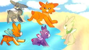 group of small babies spotted at lake [wyngro] by ANIMALDRAGON
