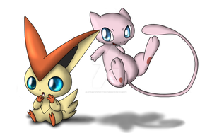 Victini and Mew! by DreamyNormy