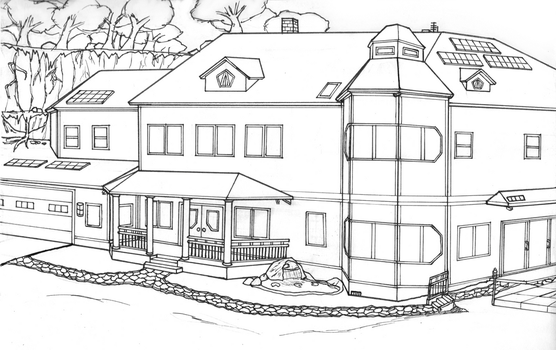 Wullf Manor (Lineart) by Vincent-Wullf