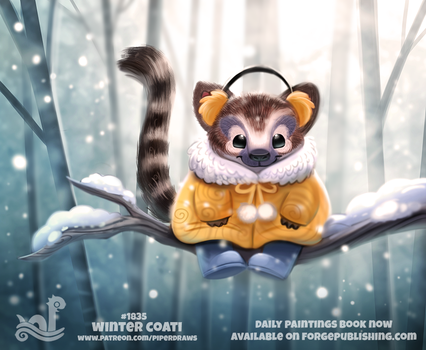Daily Paint 1835# Winter Coati by Cryptid-Creations