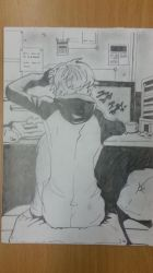 My Drawing: The guy sitting at the computer by LeeTaemin97