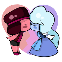 Ruby and Sapphire Chibi by colorfulkitten