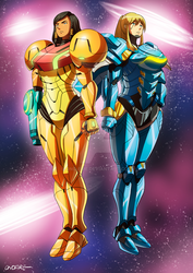 OW - Phara and Samus by oNichaN-xD