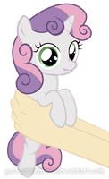 Sweetie Belle on hands by JustisAnimation