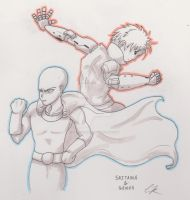 One Punch Man - Saitama And Genos Sketch by RedCaliburn