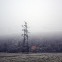The Power Lines in Winterfog and The Orange House by JanKacar
