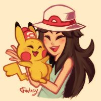 Female Pokemon Trainer and Pikachu by Call-Me-Fantasy