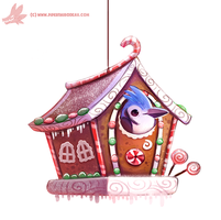 Daily Paint #1124. Ginger Bird House by Cryptid-Creations