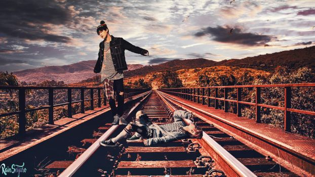Yoonmin on the train tracks by RainSeijuro