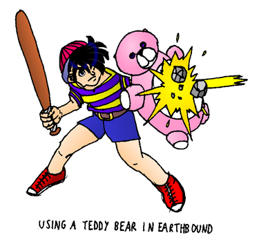 Ness and Teddy bear by Link8312