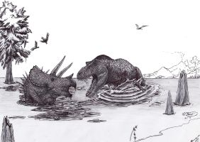 Confrontation in the swamp by Xiphactinus