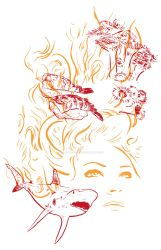 Illustration - Line triptych - Ocean Daydream by TheLipGlossary
