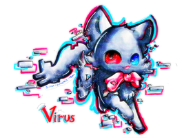 Virus the Glitch Cat! by Silver-Artemis-Moon
