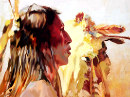 Howard Terpning - Proud Men - Huion 700 x 525 px by rageofreason