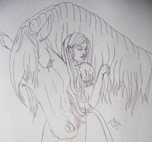 Horse and Girl Line art 1 by mistyofmyheart