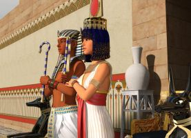 Tutankhamun And Ankhesenamun side view by dazinbane