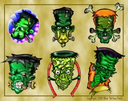 Frankenstein Tattoo Flash 1 by BeeJayDeL