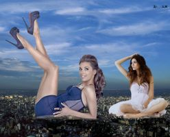 Mega Eva Longoria and Small Mega Victoria Justice by ZituKX
