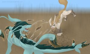 Cachomon's eeveelutions: Fighting by Foxymon