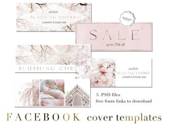 Blush Pink Facebook Cover Templates PSD by iCatchUrDream