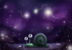 Snail in the dark by Poticceli