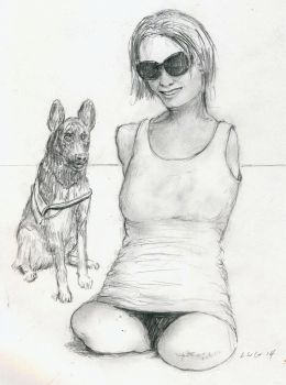 Quad Amputee With Shades and Dog by LWGArtist