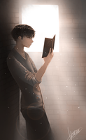 Reading in the morning light by Konene
