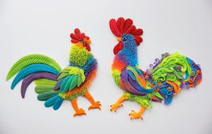 Roosters by Adora-Mander