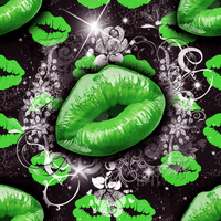 Seamless Green Lips Bling Background by Gina-101-Creative