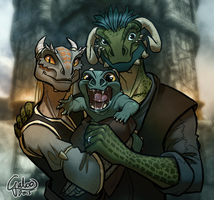 The Happy Argonian Family ver2 by GalooGameLady
