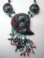 beaded embroidery necklace Turquoise dreams small by marimerabi