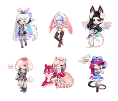OTA Animal Themed Gaia Adopts (OPEN) 3 VALENTINE'S by Pxste-I