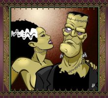 Frankenstein and His Bride by PatrickFinch