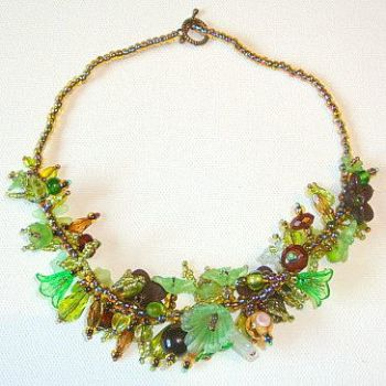 Forest Blossom Green Necklace by Milliebead