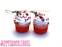 red Cupcake Earrings by Metterschlingel