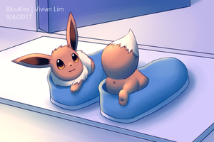 Shoe-sized Eevee by BluuKiss
