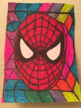 SpiderMan Mask Art Colorful Design Drawing  by NWeezyBlueStars23
