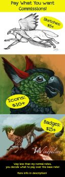 Pay What You Want Commissions- Starting at $5! by CharReed