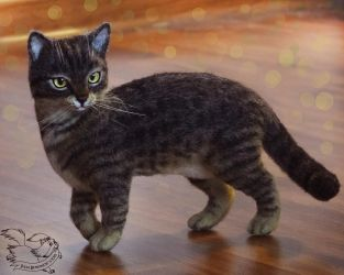 Needle Felted Cat by YuliaLeonovich