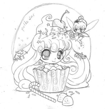 Cupcake Girl and Frosting Fairy by YamPuff