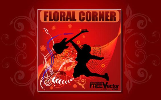 Vector Floral Corner by downloadfreevector