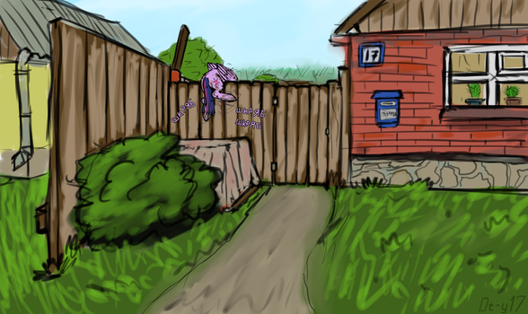 Twilight climbs over the fence by Danton-Y17