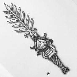 Fern Sword // pen drawing by MajesticPaula