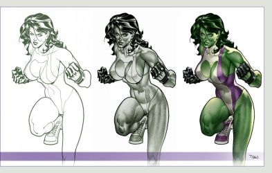 She Hulk - Pencil and PS by taguiar
