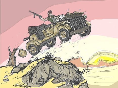 Jeep Action Scene Coloured by Gears24