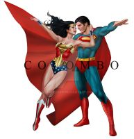 Superman and Wonder Woman by supersebas