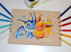 Flareon and Vaporeon in Love by Lighane
